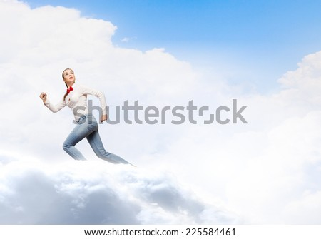 Young woman in casual running in a hurry #225584461