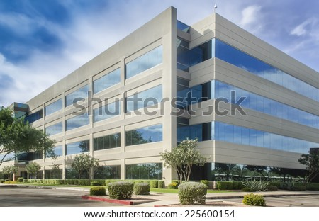Stylized altered generic corporate modern office building  Royalty-Free Stock Photo #225600154