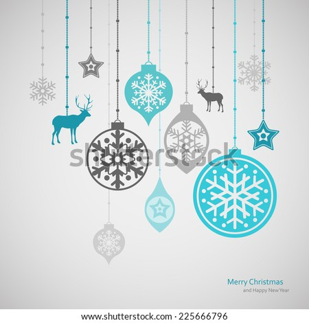 Christmas decorations. Vector set of snowflakes. New Year background Royalty-Free Stock Photo #225666796