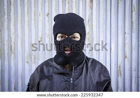 Woman with ski masks and violent hooded mask #225932347