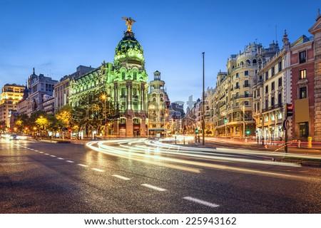 Madrid, Spain cityscape on Gran Via at twilight. #225943162