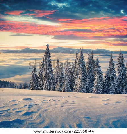 Beautiful winter sunrise in the mountains. Retro style. #225958744