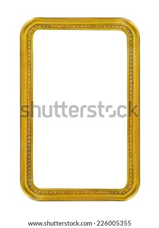 Round corners golden frame on white background