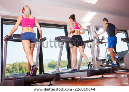 gym shot - people running on machines, treadmill #226010644