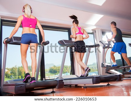 gym shot - people running on machines, treadmill #226010653