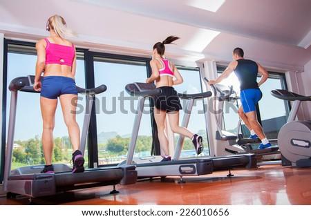 gym shot - people running on machines, treadmill #226010656