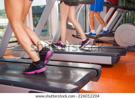 gym shot - people running on machines, treadmill #226012204