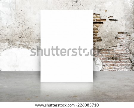 White Blank Poster in crack brick wall and concrete floor room,Template Mock up for your content Royalty-Free Stock Photo #226085710