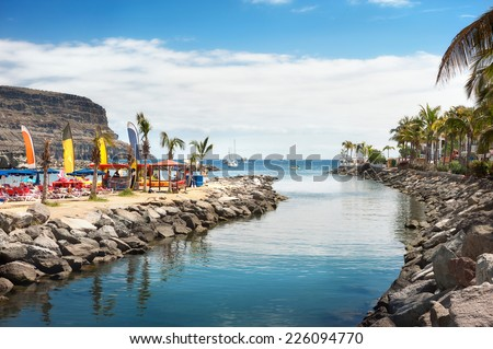 View of beach Puerto Mogan. Gran Canaria. Spain Royalty-Free Stock Photo #226094770