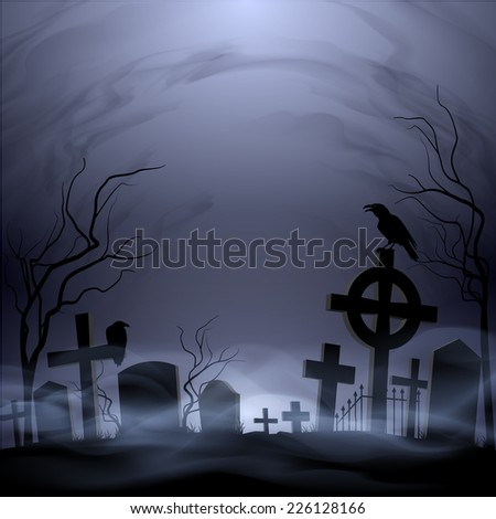Raster version. Night cemetery. Headstones and crosses. Clouds and fog.  #226128166
