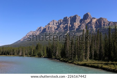 Castle Mountain and the Bow River.  Located in Banff National Park in Alberta, Canada.  #226167442