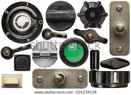 Various old device knobs, handles, buttons,switches #226234558