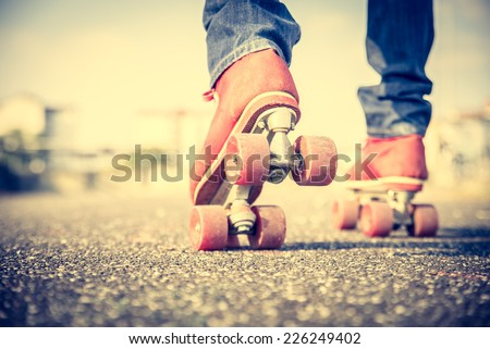 Close up on roller skate shoes - Concepts of youth,sport,lifestyle and 80s vintage style