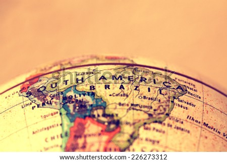 South America  on atlas world map Royalty-Free Stock Photo #226273312
