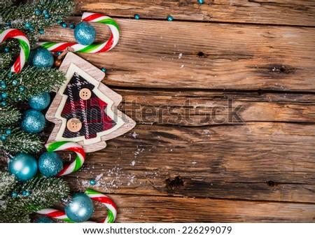 Christmas decoration on wood plant, snow #226299079