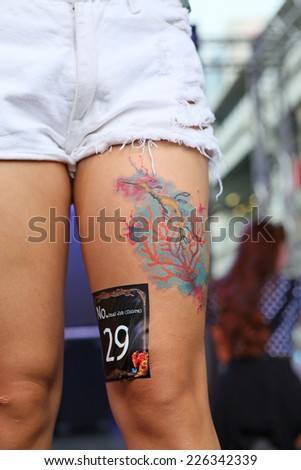 "BANGKOK, THAILAND - OCTOBER 23: Unidentified contestant's tattoo at MBK Center ""MBK TATTOO CONTEST 2014 Vol.9 THAI INK RETURN"" on October 23, 2014 in Bangkok, Thailand #226342339"