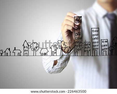Real estate, Business man drawing a house  #226463500