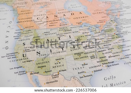 United States map (Geographical view altered on colors/perspective and focus on the edge. Names can be partial or incomplete) Royalty-Free Stock Photo #226537006