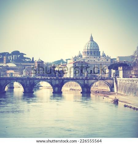 Tiber river and Basilica di San Pietro in Rome. Instagram style filtred image