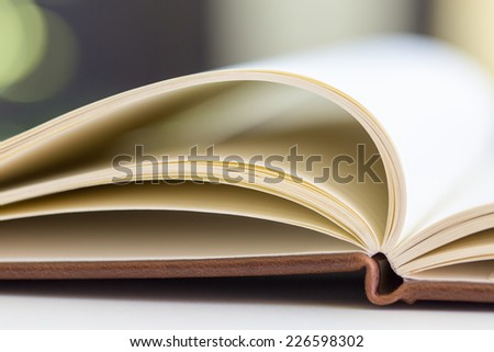 the opened book on the table #226598302