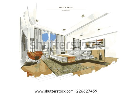 Vector interior sketch design of bedroom. Watercolor sketching idea on white paper background. Royalty-Free Stock Photo #226627459