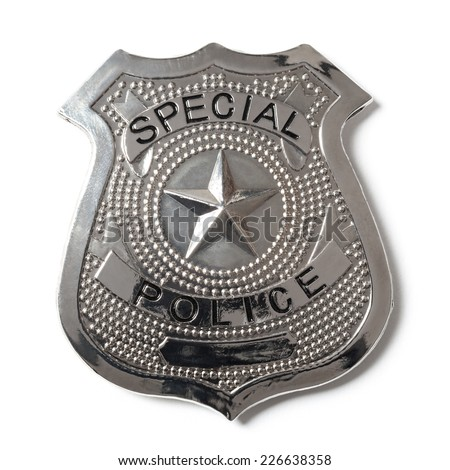 Special police badge with clipping path isolated on white #226638358