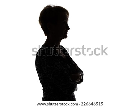 Photo of silhouette adult woman in profile on white background #226646515