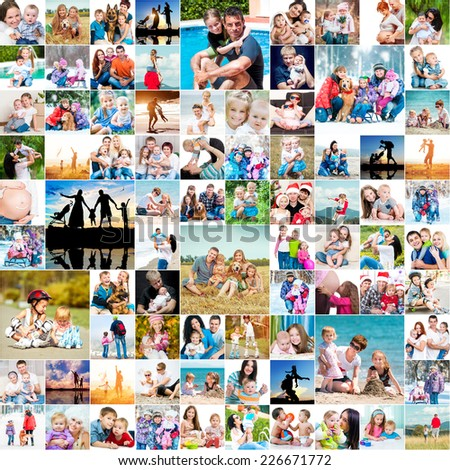 collection photos of happy families