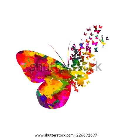 Colorful abstract watercolor butterfly on a white background. Vector
