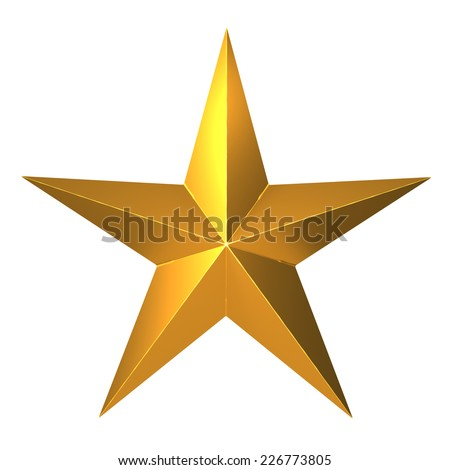 3d render of a five pointed gold star #226773805
