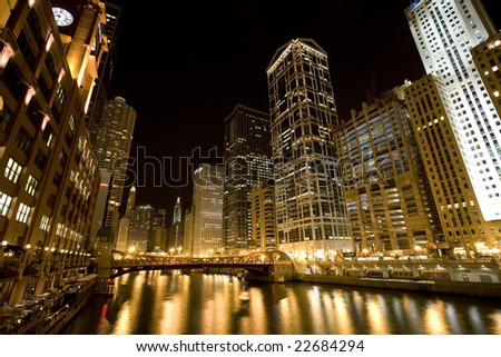 Downtown Chicago by night, looking east up W Upper Wacker Drive. Note Marina City to the left and R.R. Donnelley building to the right in the picture.