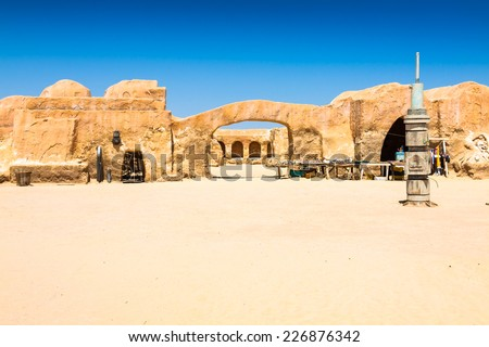 Set for the Star Wars movie still stands in the Tunisian desert near Tozeur. Royalty-Free Stock Photo #226876342