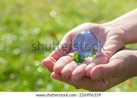 Glass globe in hand  in the grass concept for environment protection #226906339
