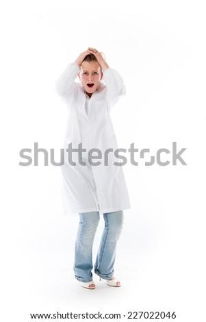 model isolated on plain background stressed upset pulling hairs #227022046
