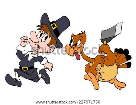 hand drawn cartoon turkey chasing a pilgrim with an ax/Thanksgiving Turkey And Pilgrim