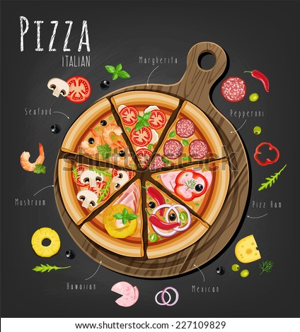 Pizza on the board and the ingredients for the pizza on the chalkboard. Use for card, poster, banner, web design and print on t-shirt. Easy to edit.