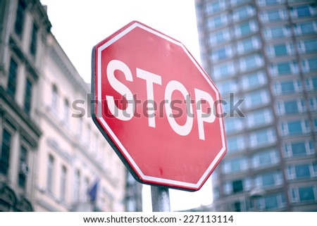 stop sign in city