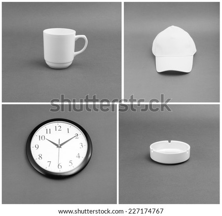 White objects of identity - cup, watches, cap, ashtray on a gray background #227174767