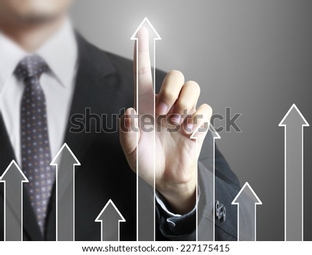 Touch Screen financial symbols coming from hand  #227175415