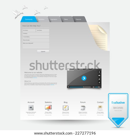 Website template notepad with bookmarks  #227277196