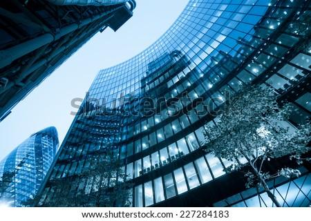 Windows of Skyscraper Business Office, Corporate building in London City, England, UK #227284183