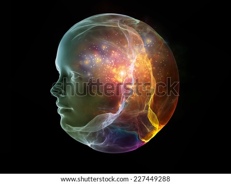 Next Generation AI series. Background design of fusion of human head and fractal shape on the subject of mind, consciousness and spirituality #227449288
