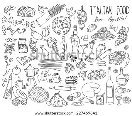 Set of doodles, hand drawn rough simple Italian cuisine food sketches. Isolated on white background #227469841