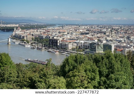 BUDAPEST, HUNGARY/EUROPE - SEPTEMBER 21 : View of the River Danube in Budapest Hungary on September 21, 2014 #227477872