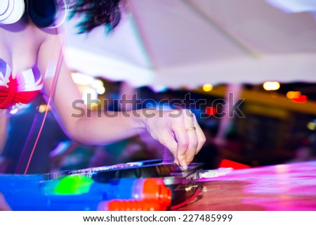 Dj mixing in nightclub at party. #227485999