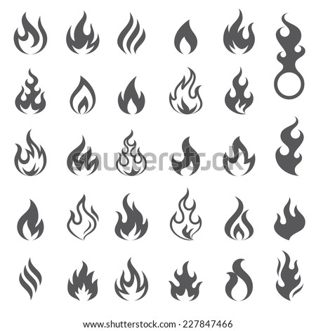 Big set of 29 flame and fire vector icons. Vector file is fully layered