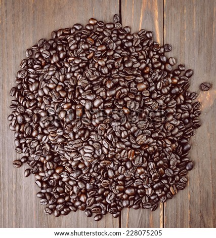 Coffee beans on wooden background - vintage effect style pictures #228075205