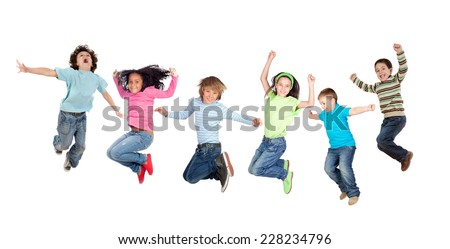 Six funny children jumping isolated on a white background #228234796