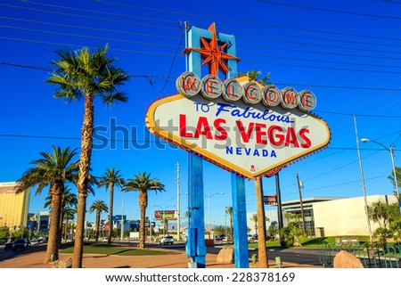 LAS VEGAS, USA - October 29: Welcome to Fabulous Las Vegas sign on October 29, 2014 in Las Vegas, USA. Las Vegas is one of the top tourist destinations in the world. #228378169