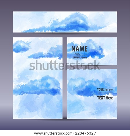 Vector set visual corporate identity with hand-painted background. set of business brand stationery design template. banner, business card, invitation, greeting card and postcard. #228476329